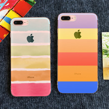 2017 New Factory direct stripe semi transparent iPhone7plus painted mobile phone shell simple silicone protective cover custom