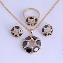 Love Monologue Everlasting Black Imitation Onyx & Cubic Zirconia Round Yellow Gold Color Jewelry Sets for Women H0285