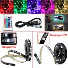 2017 New USB Led Strip Light 1M/2M RGB Led Strip Computer Strips SMD5050 5V USB TV Backlight Led Lamp Kit Set W/24key Controller