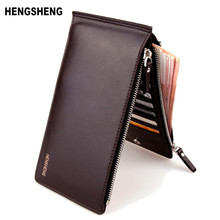 HENGSHENG Fashion Wallet Men Wallet Double Zippers Business Men Clutch Handbag Men Purse Ultrathin Coin Wallet Card Holders A007