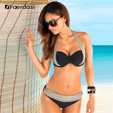 Faerdasi 2017 New Sexy Bikinis Women Swimsuit High Waisted Bathing Suits Swim Halter Push Up Bikini Set Plus Size Swimwear(China)