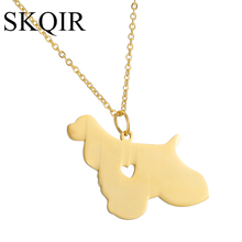 SKQIR Fashion Engraving Men Jewelry Lovely Cocker Spaniel Dog Pendant Necklace For Pet Stainless Steel Necklace Heart Pendant(China)