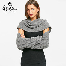 AZULINA Cable Knit Convertible Collar Sweater Women Casual Pullover Sweaters Ladies Autumn Winter Long Sleeve Oversized Sweater(China)