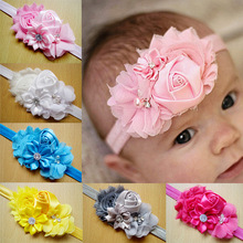 2015 Newborn stain Rose Pearl Lace Flower Hair Accessories Headwear baby rhinestone headband Infant Children Baby Gair Headband