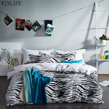 WINLIFE Black and White Duvet Cover Set 100% Cotton Black and White Bedding