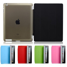 1 Pair/lot PU Leather Slim Magnetic Four Folding Front Smart C0over Skin + Hard PC Back Case For ipad 2 3 4 ipad3 ipad4 case