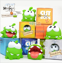 7pcs/lot 7cm om nom frog cut the rope Soft rubber cut the rope figure classic toys game toys  for children  Free shipping Brazil