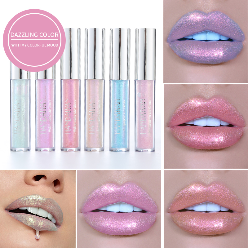 HANDAIYAN Liquid Crystal Glow Lip Gloss Laser Holographic Lip Tattoo Lipstick Makeup Mermaid Pigment Glitter Lip Gloss(China)