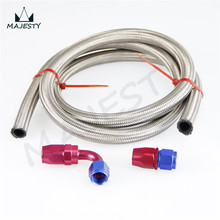 SILVER AN10 10-AN STAINLESS STEEL BRAIDED OIL/FUEL LINE HOSE+RED & BLUE STRAIGHT+90 Degree SWIVEL FITTING