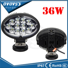Wholesale auto part black silver ring 12v 36w oval work light led for tractor truck 4x4 ATV SUV offroad
