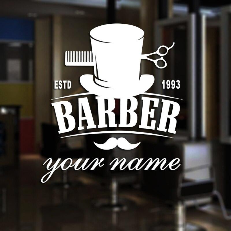 Man Barber Shop Sticker Estd Customized Name Bread Decal Haircut Shavers Posters Vinyl Wall Art Decals Decor Windows Decoration