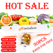 Hiwisdom 110V/220V Household Food Vacuum Sealer Packaging Machine Film Sealer Vacuum Packer Including 30Pcs Bags Free Shipping