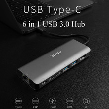 WIWU 6 in 1 USB 3.0 Hub for MacBook Pro Air Multi function USB Type C 4K Video HDMI/RJ45 USB Hub 3.0 Adapter Charging Port Hubs