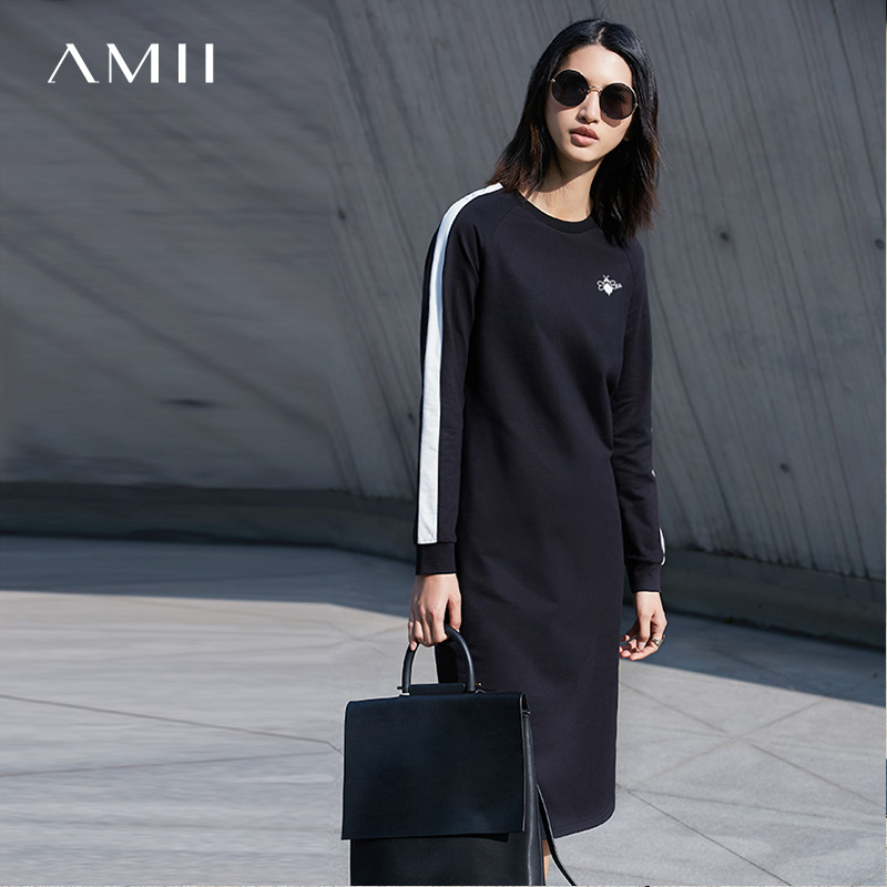 Amii Minimalist Casual Women Dress 2018 Solid 100% Cotton Embroidery O-Neck Long Sleeve Dress