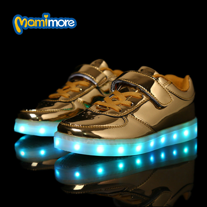 Kids Glowing Shoes USB Charg Lighted Fashion Sneakers PU Leather Hook&amp;Loop Led Colorful Children Shoe chaussure lumineuse enfant<br><br>Aliexpress