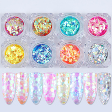 BORN PRETTY 8Pcs Mermaid Nail Sequins Set Semi-transparent Glitters Nailart Colorful Round Glitter Paillettes Decoration Kit(China)
