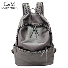 2017 Women Rivets Backpack Fashion Silver White Girls School Bag High Quality PU Leather Large Backpacks Black mochila XA695H