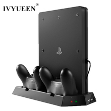 IVYUEEN Vertical Stand Cooling Fan with Charging Station for Sony Playstation 4 PS4 Slim Console + Dual USB HUB Charger Ports(China)