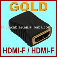 Free Shipping+10pcs/lot ! HDMI Adapter/HDMI-F to HDMI-F Female Adapter video converter HDTV GOLD