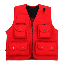 Multi Pocket waistcoat red beige black green photography director reporter outdoor worker advertising fishing free shipping(China)