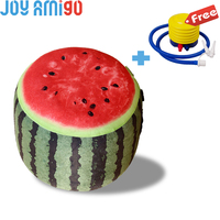 Vibrant Inflatable Pouffe Garden/Room Seat  Melon/Watermelon Design Footrest Plush Soft Toy Plant Stuffed With a Pump For Free