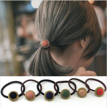 Vintage Women Hair Accessories Baby Solid Elastic Hair Bands Fashion Headbands Button Headwear Girl Scrunchy Jewelry Accessory