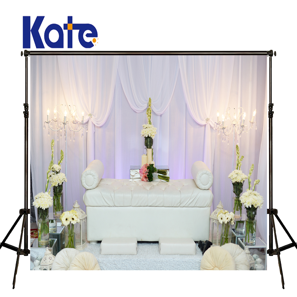 KATE Photography Backdrop Wedding Background White Curtain Sofa Backdrops Vintage Chandelier and Flower Background for Photocall<br>