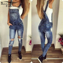 Bonnie Forest Fashion Broken Holes Blue Denim Jumpsuit One-piece Outfit Summer Stretch Denim Jeans Jumpsuit Overalls With Pocket