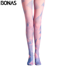 Buy BONAS Pink Stripes Pantyhose Tights Female Lolita Style Compression Stockings Leggins Women Geometric Print Cotton Pantyhose