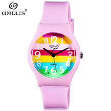 WILLIS Luxury brand Women watches 2017 fashion casual elegant Silicone pink rainbow quartz candy wristwatch Women Waterproof 30m