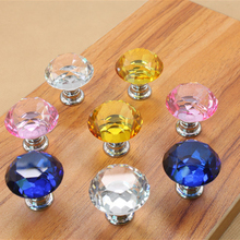 30mm 7 Colors Diamond Crystal Glass Door Drawer Cabinet Furniture Handle Knob Screw Home Accessories(China)