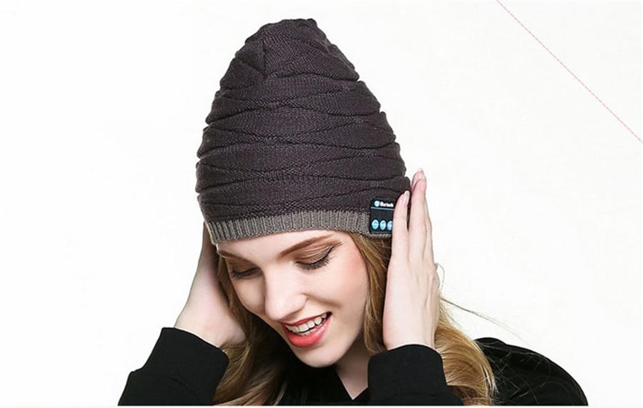 Wireless Bluetooth Smart Cap New Fashion Men Women Unisex Winter Warm Hat Smart Cap Headset Headphone Speaker Mic for iphone 7 8