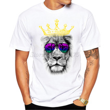 2016 New Fashion Cool Kind of Lion Printed Men's High Quality T Shirt Hipster Style Casual T-shirt(China)