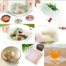 free shipping 4pcs/lot seal vacuum food magic wrap multifunctional food fresh keeping plastic wrap silicone fresh wrap(China)