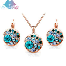 Miss Lady 2017 summer jewelry  Rose Gold color blue and  Pink Big Round african costume Crystal Jewelry Sets for women