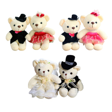 1pair 15cm Hot Selling Item Couple Bears Wedding Bears Wedding Gifts Soft Doll kawaii Toy Brinquedos For Kid(China)