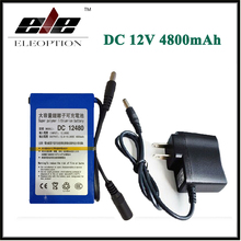 Eleoption DC12480 DC 12V 4800mAh Super Rechargeable Li-ion Battery Pack For CCTV Camera Video With Plug