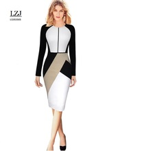 LZJ Professional Women's Casual Dress Long Sleeve O-neck Women's Fashion Jacket Elegant Business Pencil Dress plus size vestidos(China)