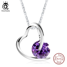 ORSA JEWELS 100% 925 Sterling Silver Heart Pedant Necklace with AAA Austrian Cubic Zirconia for Women Precious Girl's Gift SN47(China)