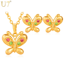 U7 Butterfly Jewelry Sets Gold/Silver Color Party Gifts Bridal Jewelry Woman's Necklace Earring Wedding Sets S618(China)