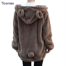 Winter Hoody 2017 Hoodies Women Fluffy Bear Ear Hooded Coat Sweatshirts Warm Loose Casual Coats Cute Kawaii Mujer Outerwear Tops(China)