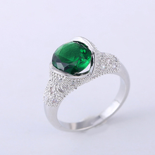 2016 Cubic Zirconia Ring Silver Plating Green CZ Cute Fashion Ring for women jewelry accessories free shopping jewelry