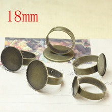 100 pcs Antique Brass Pad Open Adjustable RING Base Cabochon Size:18mm