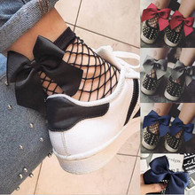 Fashion Women Ruffle Fishnet Ankle High Socks Mesh Sexy Lace Fish Net Bowknot Short Socks