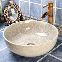 410mm Round White Ceramic Crack Glaze Washbowl Basin Personalized Counter Top Sink Ceramic Washing Basin