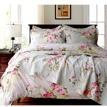 cotton quilting quilts Europe export quality bedspread 3pcs set luxury red flower bedcover printed quilt cheap price king size(China)