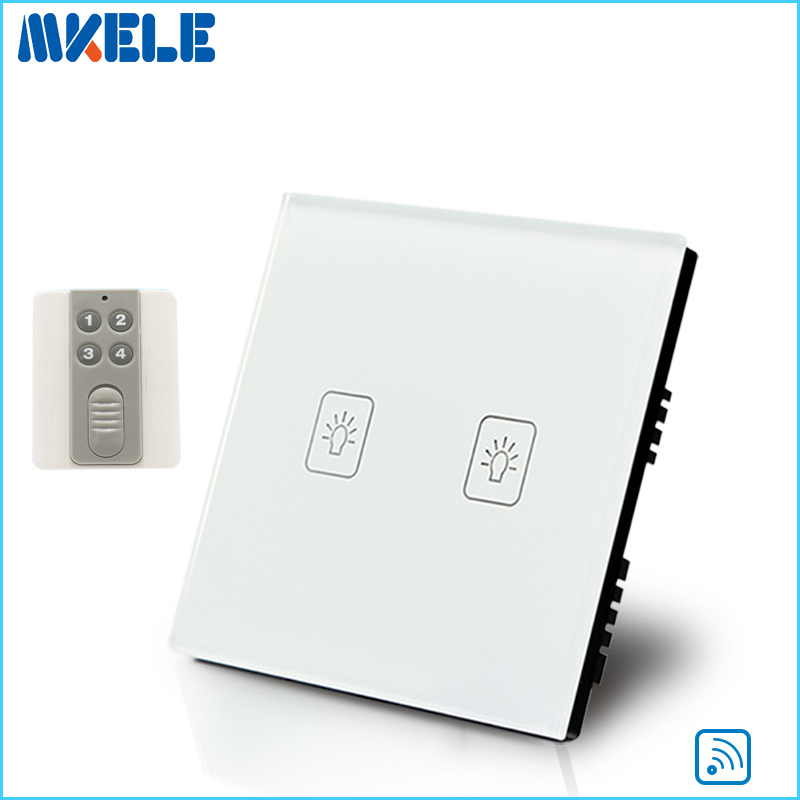 New Arrivals Touch Wall Switch UK Standard 2 Gang 1 Way RF Light Switches White Crystal Glass Panel With Wireless Remote Control<br>
