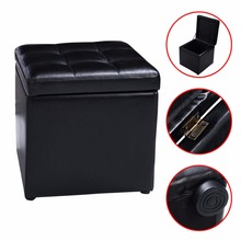 Cube Ottoman Pouffe Storage Box Lounge Seat Footstools with Hinge Top New HW47908BK(China)