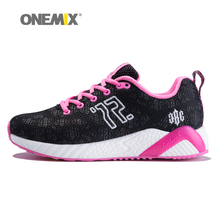 Onemix women' running shoes colorful reflective vamp sport athletic sneakers for woman outdoor walking light weight black pink(China)