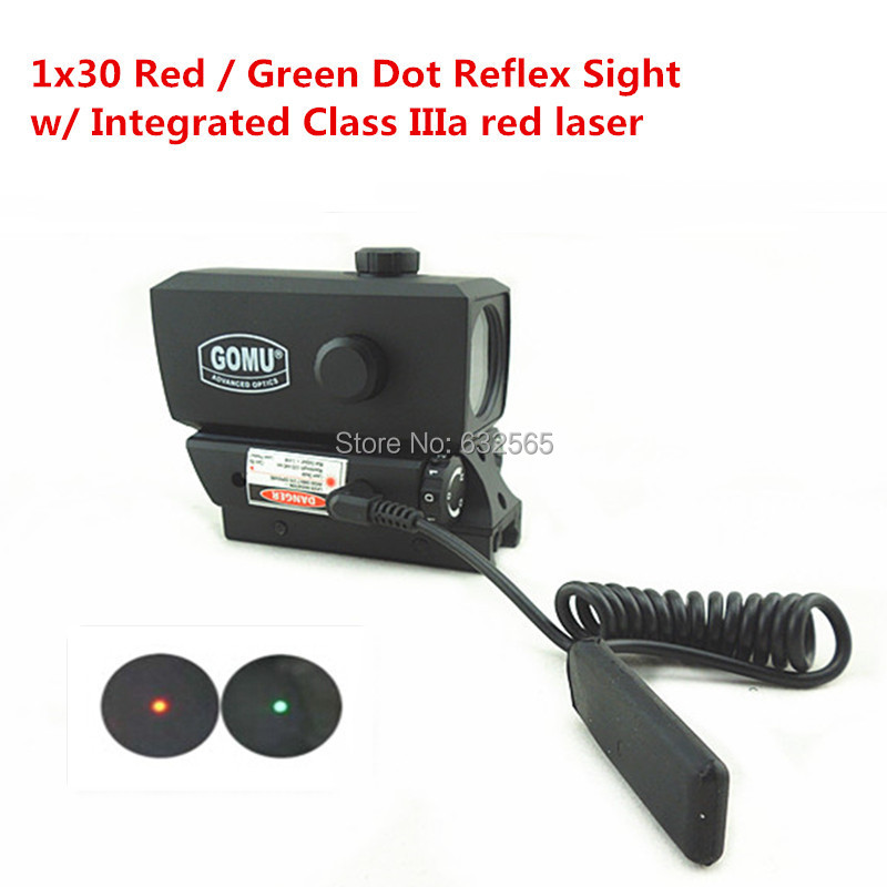 2PCS/Lot Hunting Tactical 1x30 Integrated Laser Rifle Scope 20mm Rail Mount Red Green Dot Sight Scope Free Shipping<br><br>Aliexpress